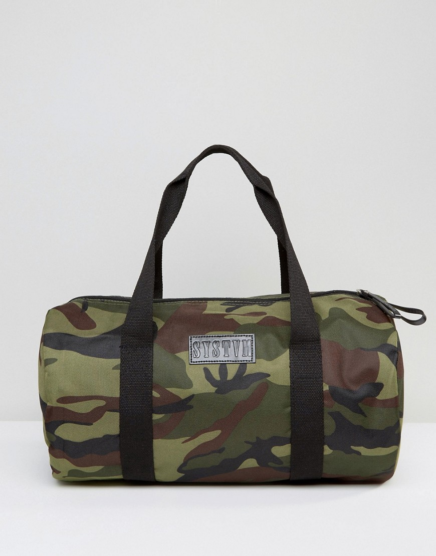 Systvm Duffle Bag In Camo Canvas - Green