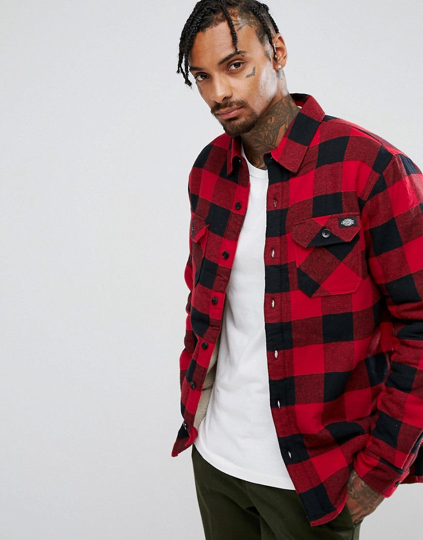 Dickies Lansdale check long sleeve overshirt in red - Red
