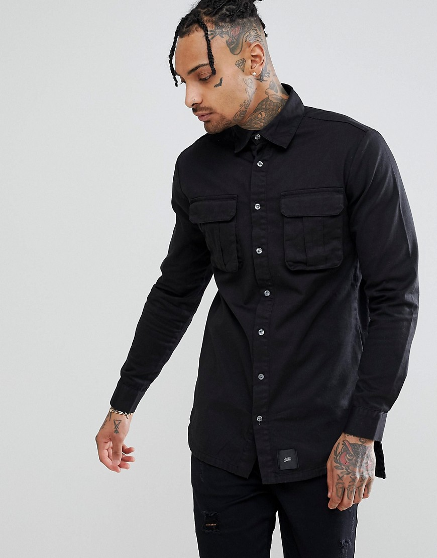 Sixth June Oversized Cargo Shirt In Black - Black