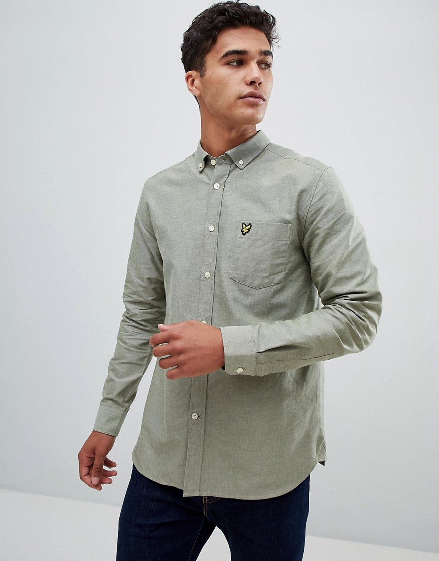 Lyle & Scott buttondown shirt in pale green - Green
