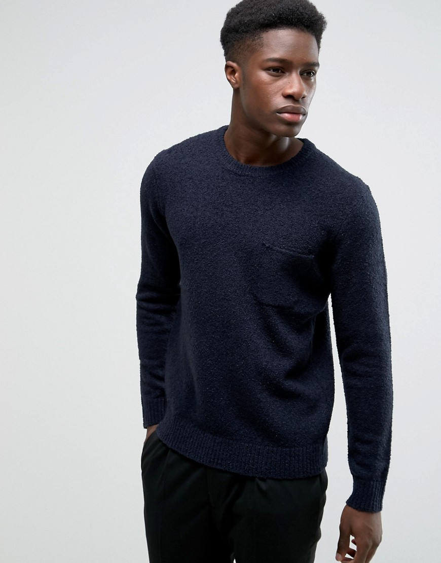 Kiomi Knitted Jumper with Pocket - Dark blue