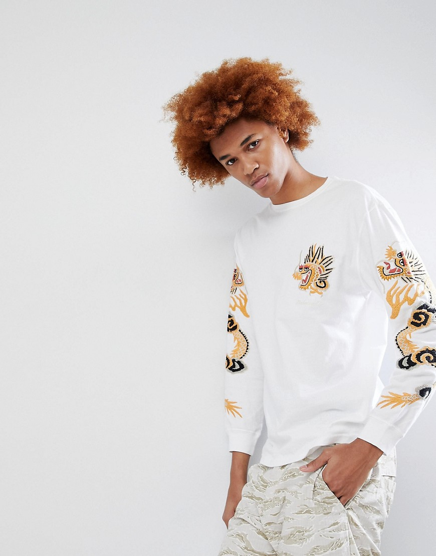 Maharishi Dragon Arm Embroidered Long Sleeve T-Shirt - White