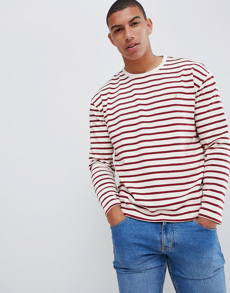 Farah Bain stripe long sleeve t-shirt in red - Red