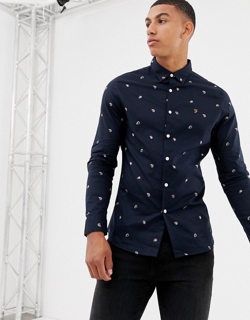 Farah Jasmine printed shirt in navy - True navy