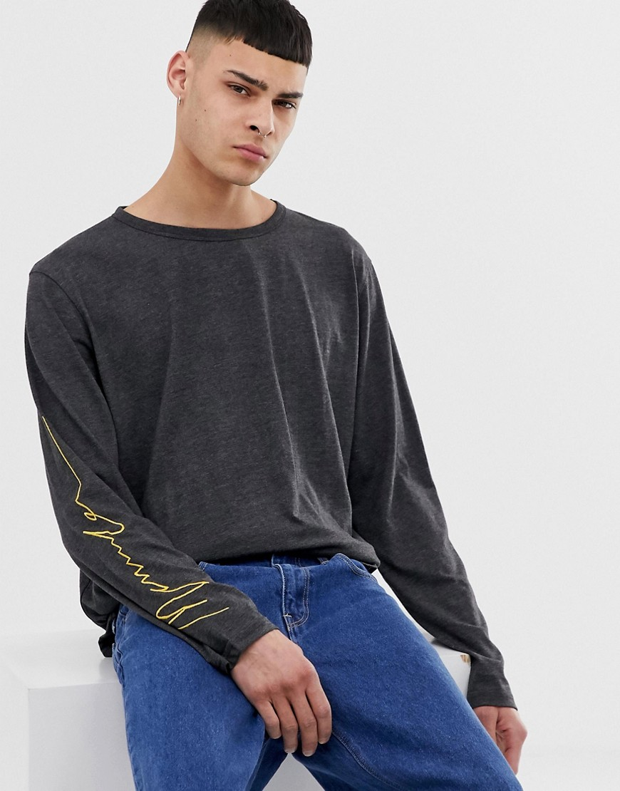 Mennace long sleeve t-shirt in charcoal - Grey
