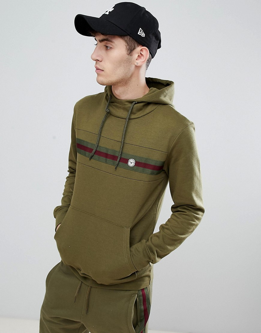Le Breve Chest Striped Hoodie - Khaki