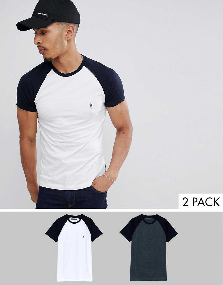 French Connection 2 Pack Raglan T-Shirts - Marine/white