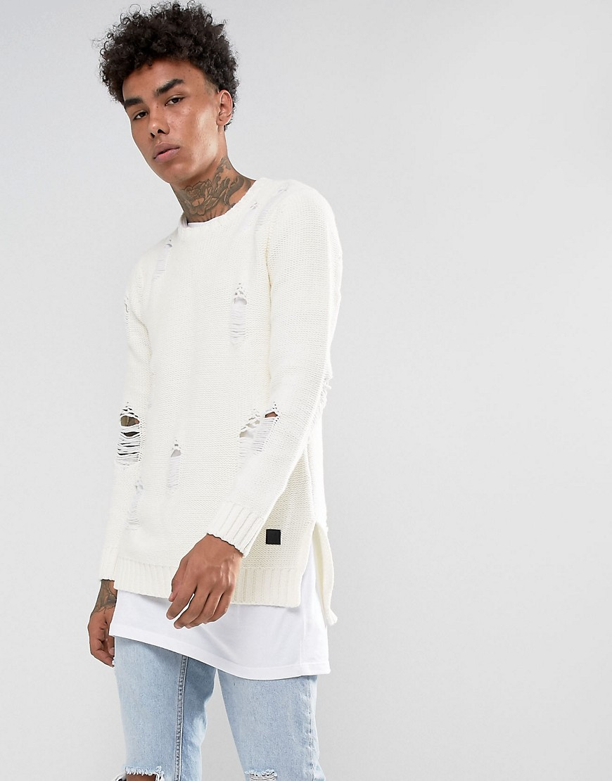 Black Kaviar Knitted Jumper In Off White With Distressing - White