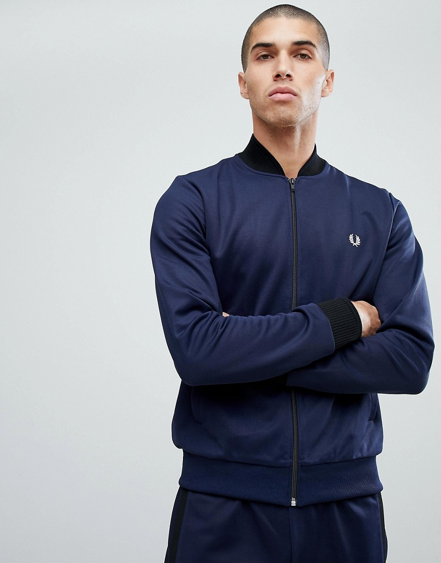 Fred Perry Bomber Neck Track Jacket In Blue - 226