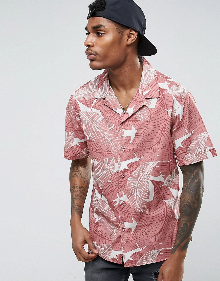 Midnight Surf Leaves Revere Collar Shirt - Pink