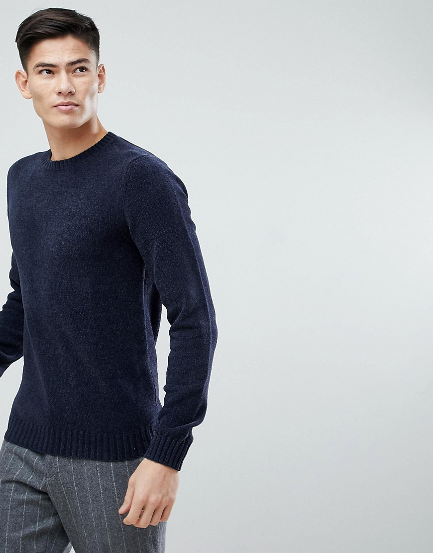 Mango Man Chenille Jumper In Navy - Navy
