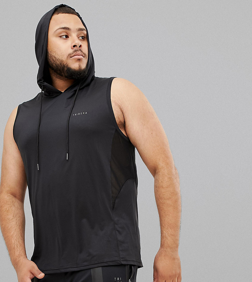 Tribeka Plus Sleeveless Gym Hoodie - Black