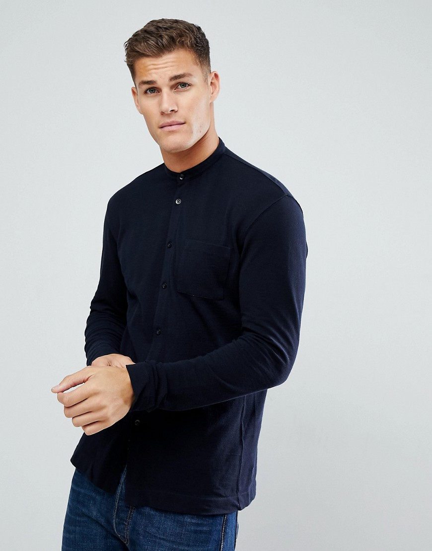 Tom Tailor Jersey Shirt with Grandad Collar In Navy - 6576