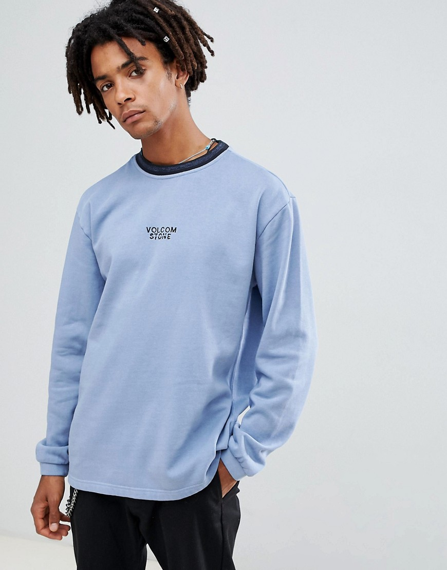 Volcom noa noise sweatshirt with embroidered logo in blue - Blue