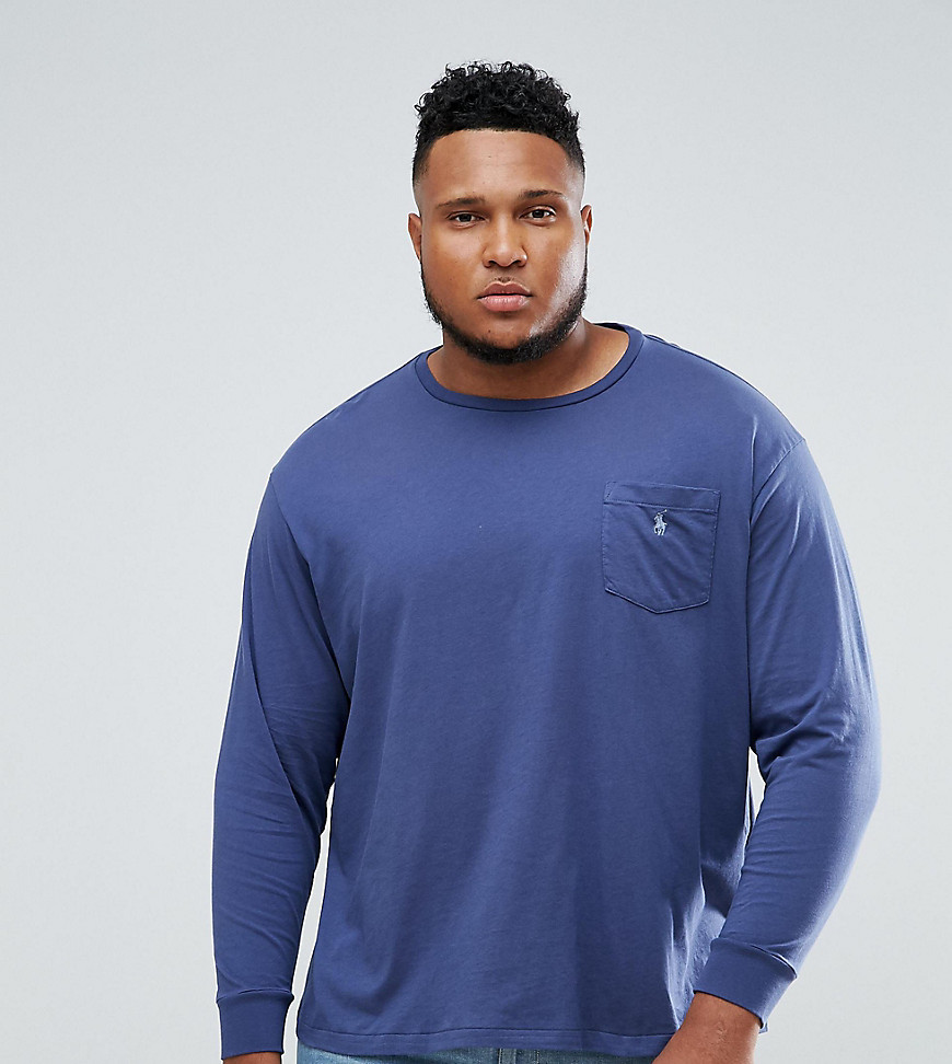 Polo Ralph Lauren Big & Tall Long Sleeve Pocket T-Shirt with Logo in Blue - Light navy