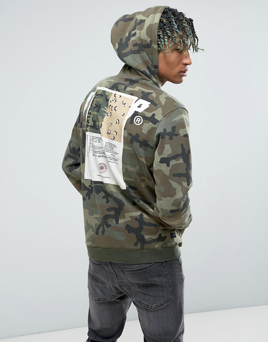 10.Deep Camo Hoodie With Back Patch - Green
