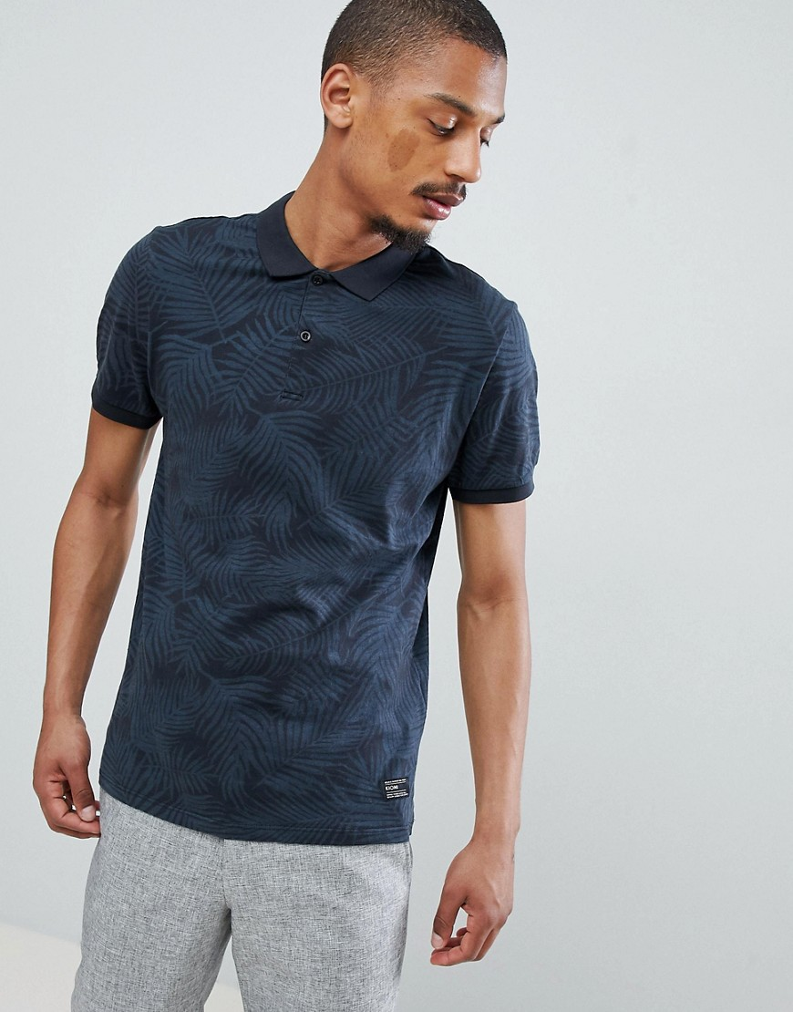 Kiomi Palm Print Polo In Grey - Grey