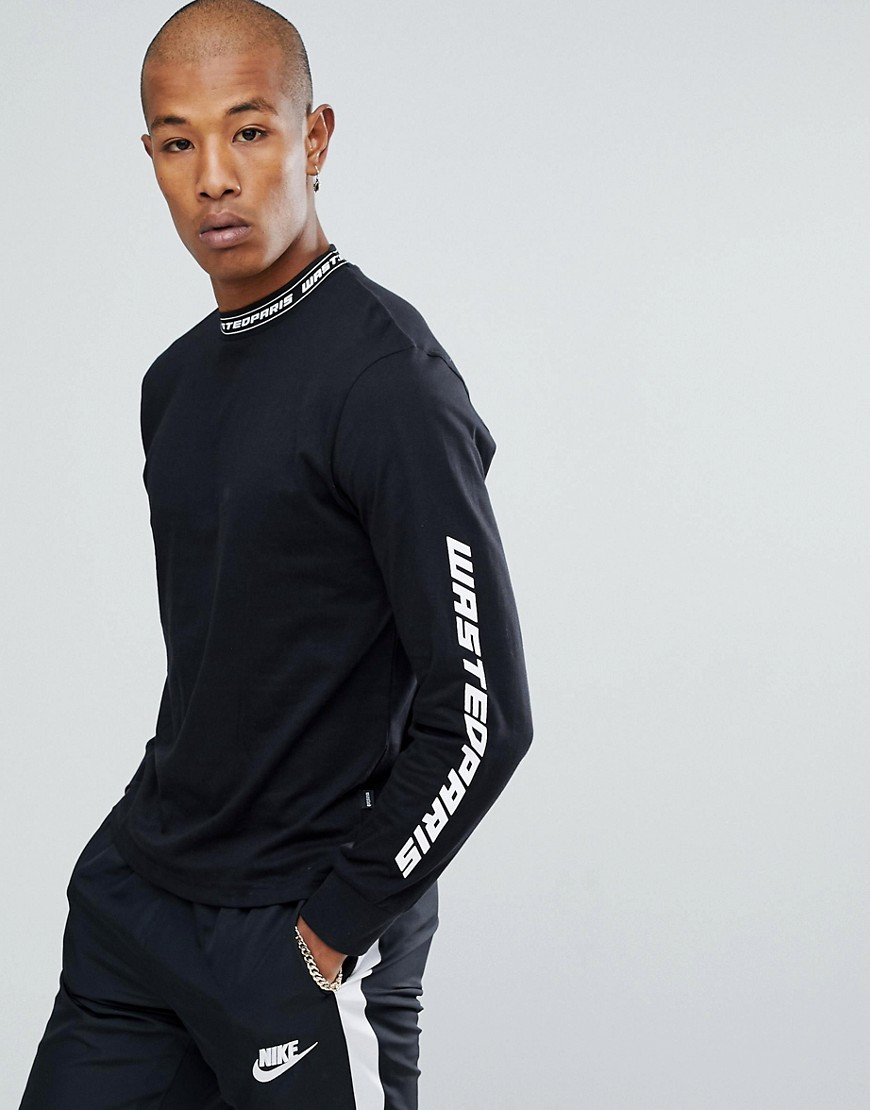 Wasted Paris Squadra Long Sleeve T-Shirt In Black - Black
