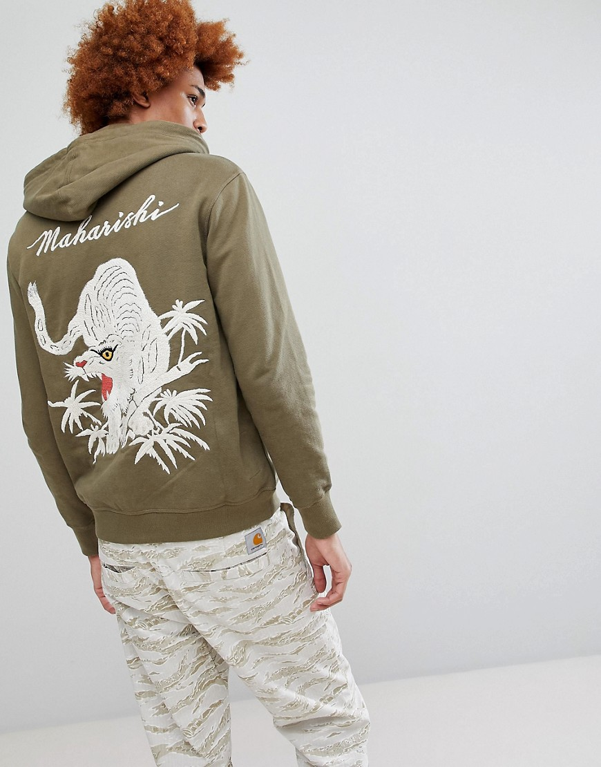 Maharishi Tiger Embroidered Hooded Sweat - Green