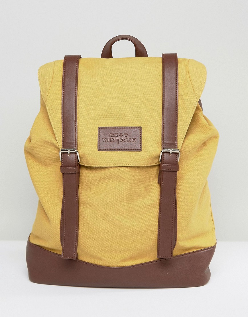 Dead Vintage Buckle Backpack In Mustard - Yellow
