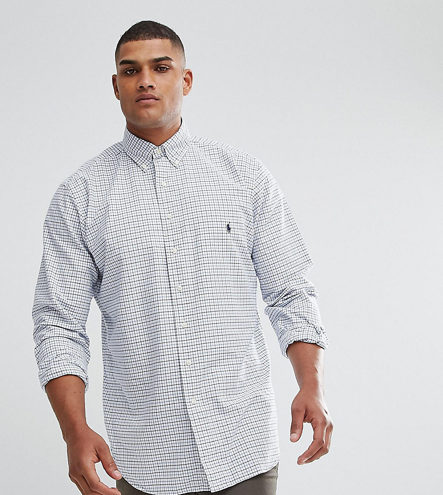 Polo Ralph Lauren Big & Tall Grid Check Oxford Shirt in White - White / multi blue