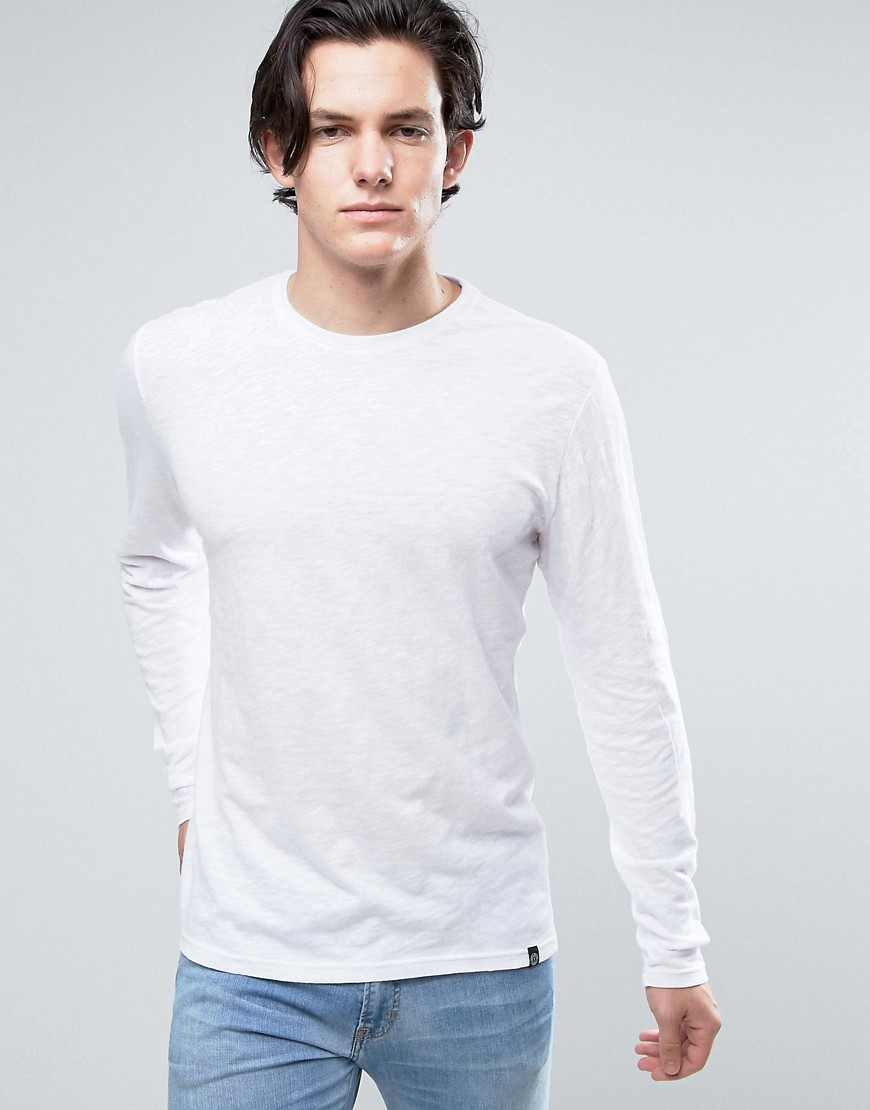 Solid Long Sleeve T-Shirt In White - White