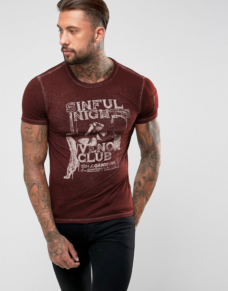 Replay Sinful Nights T-Shirt - Burgundy