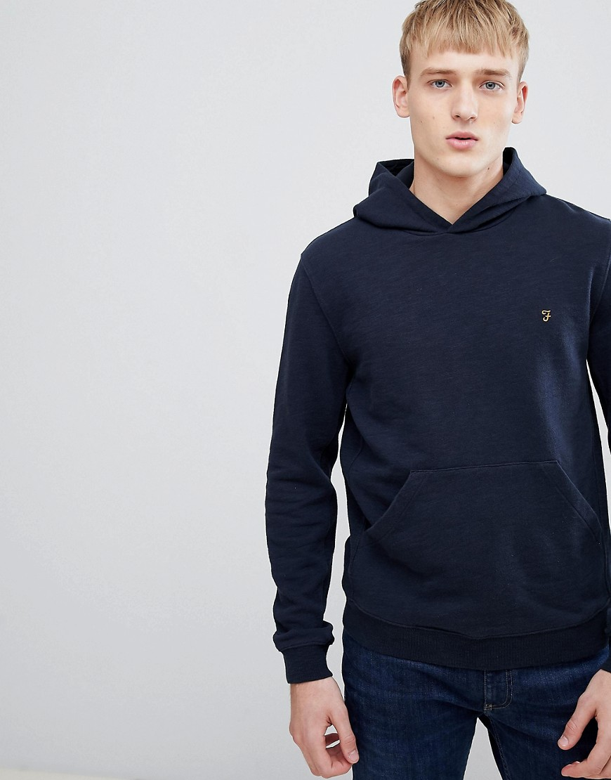 Farah Ayrslim fit loop back hoodie in navy - Navy