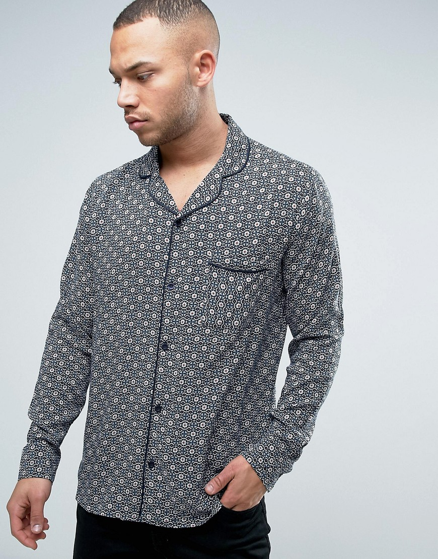 Brooklyn Supply Co Revere Collar Tile Print Shirt - Br1 - brown 1
