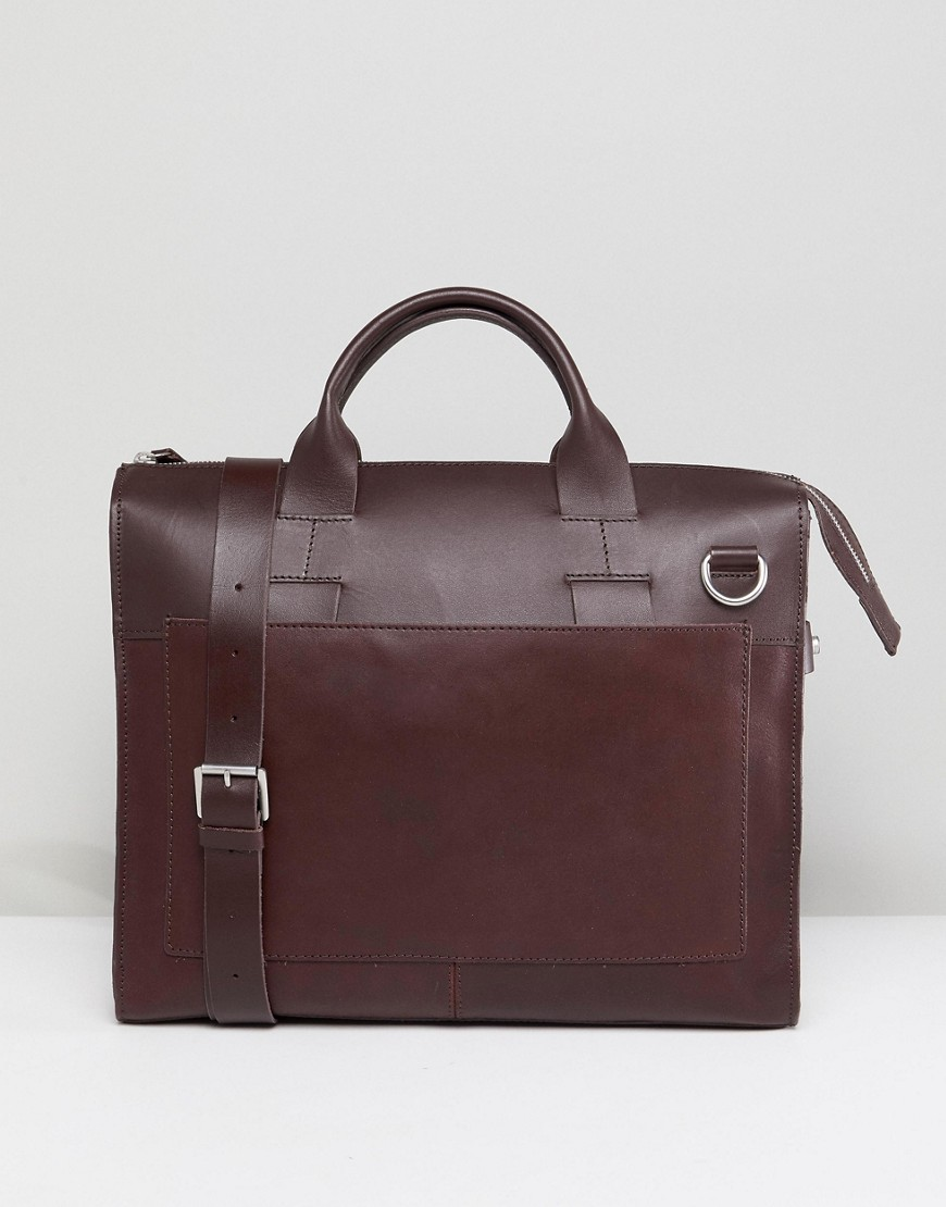 Kiomi Leather And Canvas Satchel In Brown - Dark chocolate