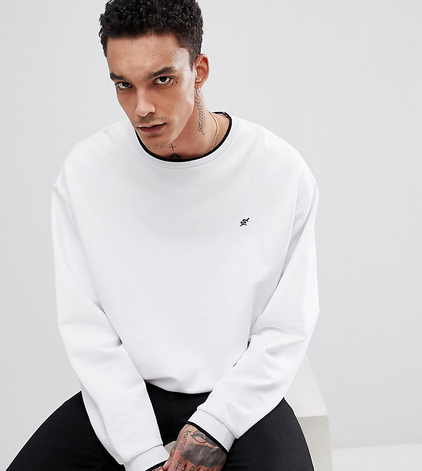 Heart & Dagger boxy sweatshirt with contrast tipping - White