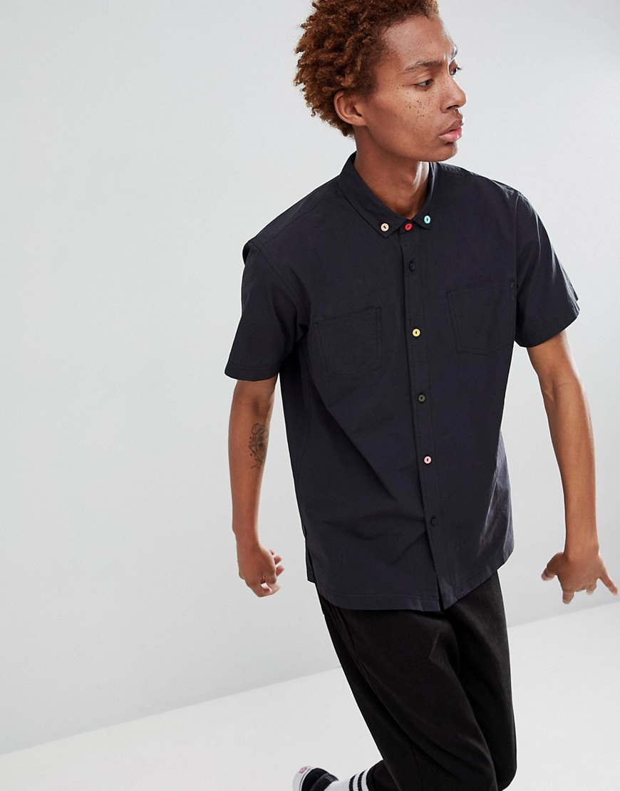 Fairplay short sleeve button-up shirt in black - Black
