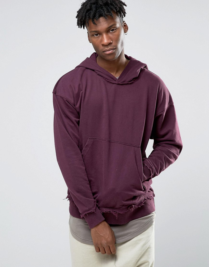 Other UK Oversized Hoodie With Raw Edges - Purple