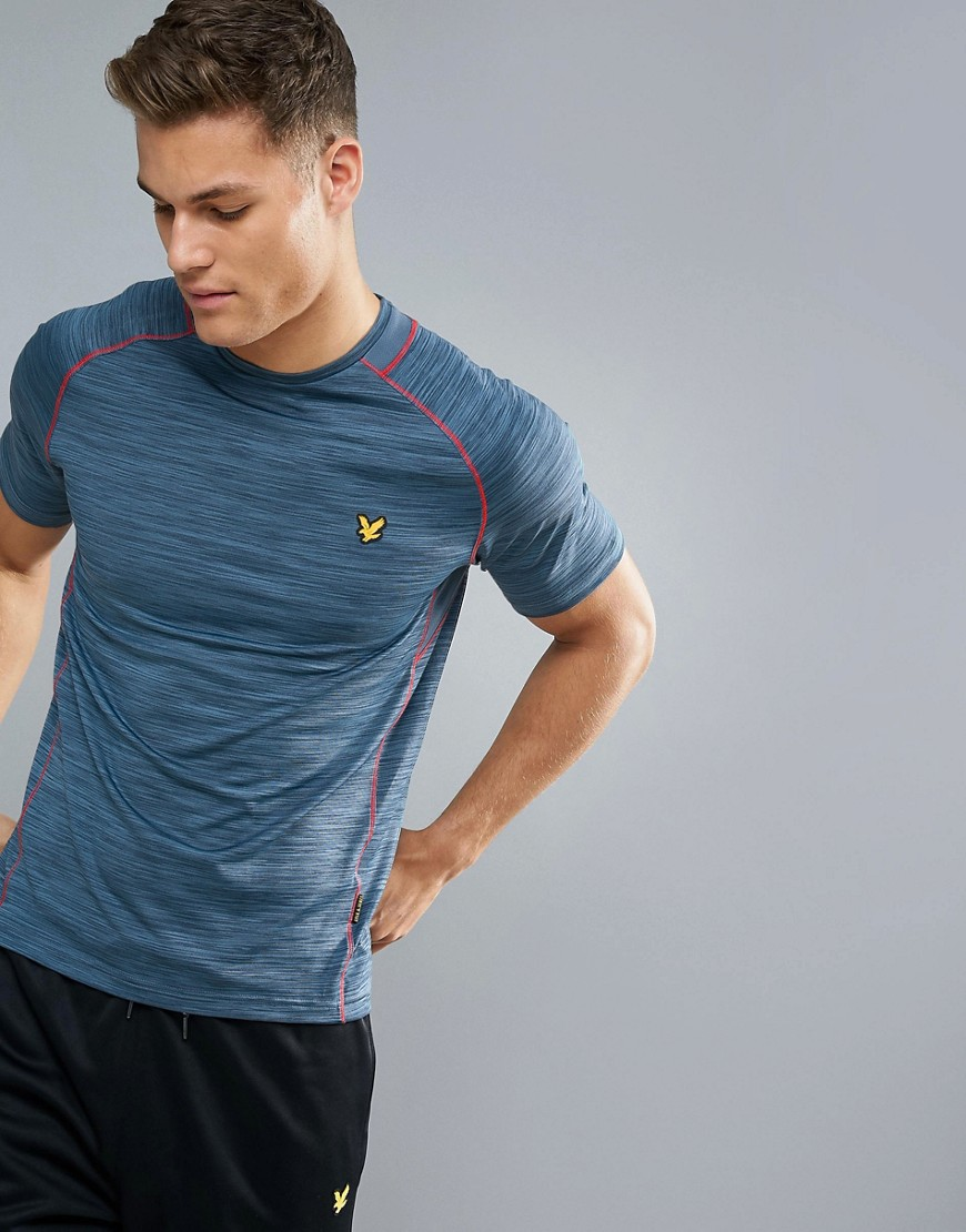 Lyle & Scott Fitness Jones Training T-Shirt in Petrol with Contrast Piping - Petrol grey