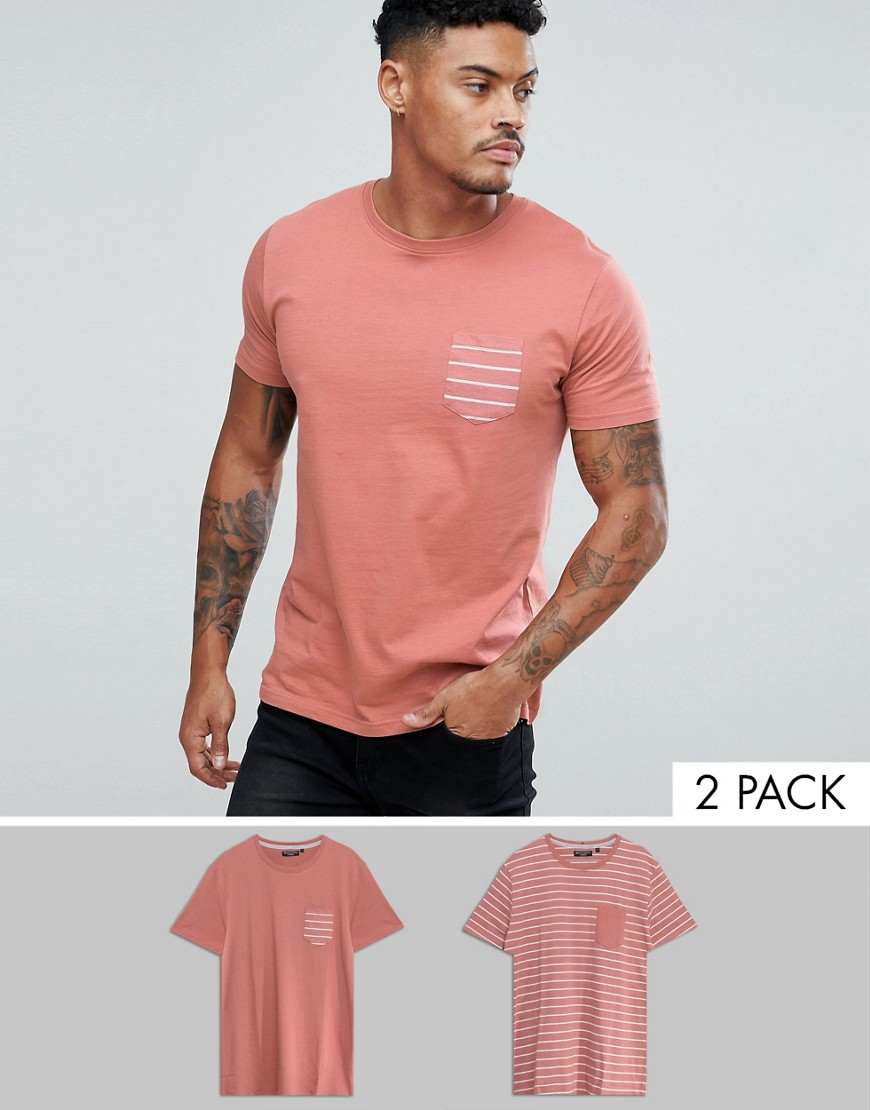 Brave Soul 2 Pack Stripe And Plain T-Shirt - Pink