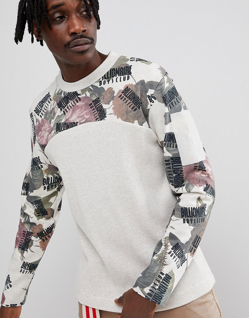 Billionaire Boys Club Long Sleeve T-Shirt With Floral Print - Beige