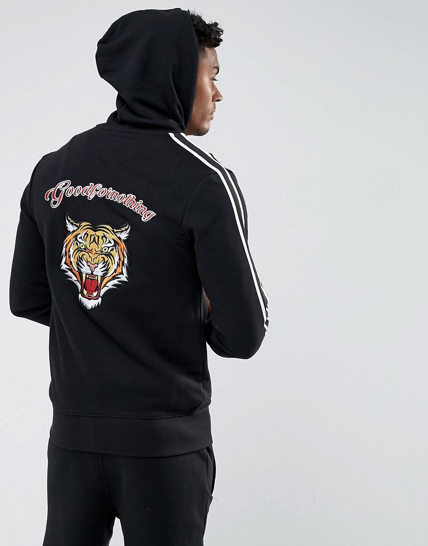 Good For Nothing Hoodie In Black With Embroidered Tiger Back - Black