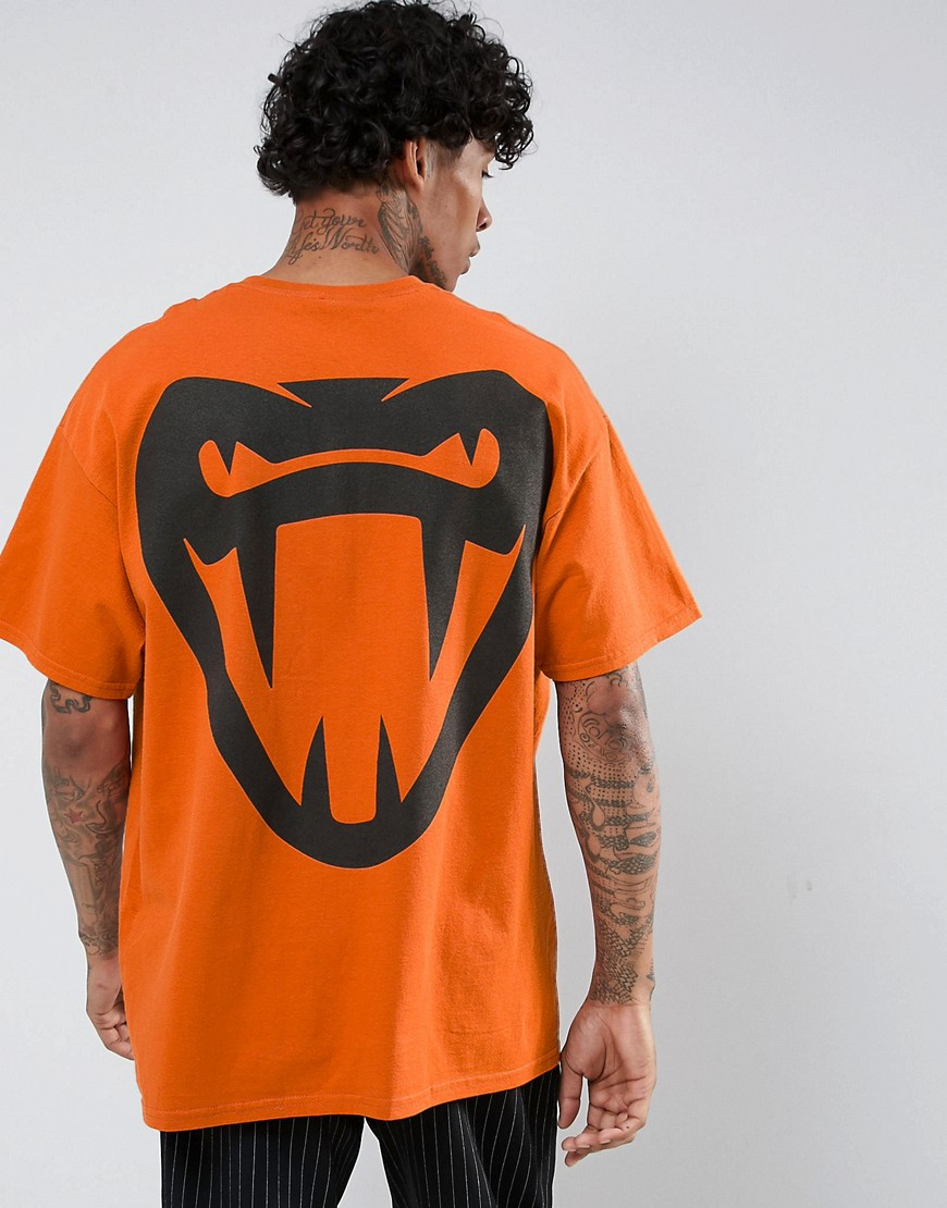 HNR LDN Fang Back Print T-Shirt in Oversized - Orange