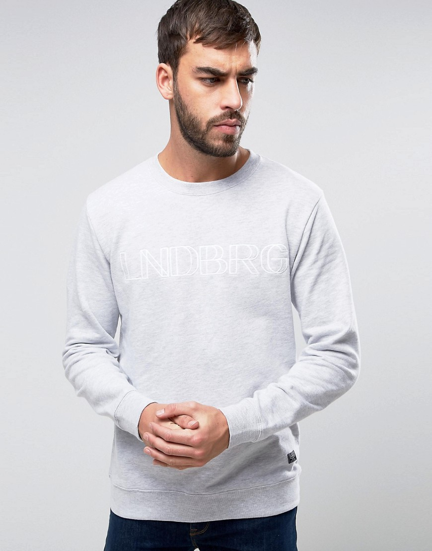 Lindbergh Logo Embroidered Sweatshirt in Light Grey - Lt grey mel