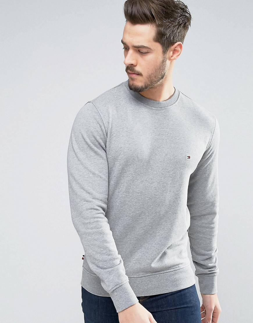 Tommy Hilfiger Crew Sweatshirt Flag Logo in Grey Marl - Grey