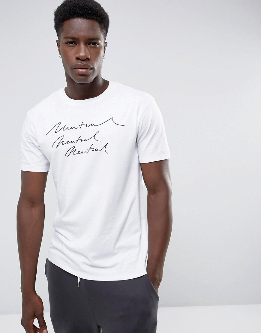 Mango Man Neutral Print T-Shirt In White - White