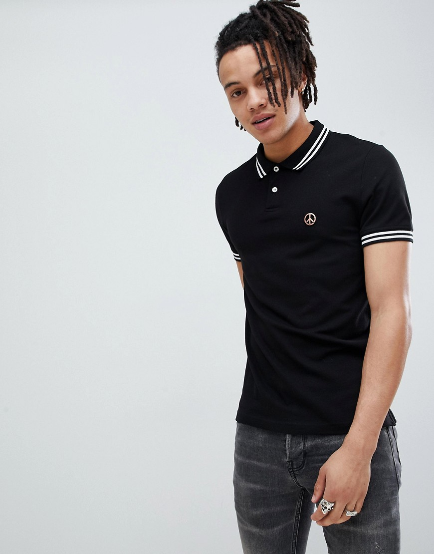 Love Moschino polo with logo in black - Black