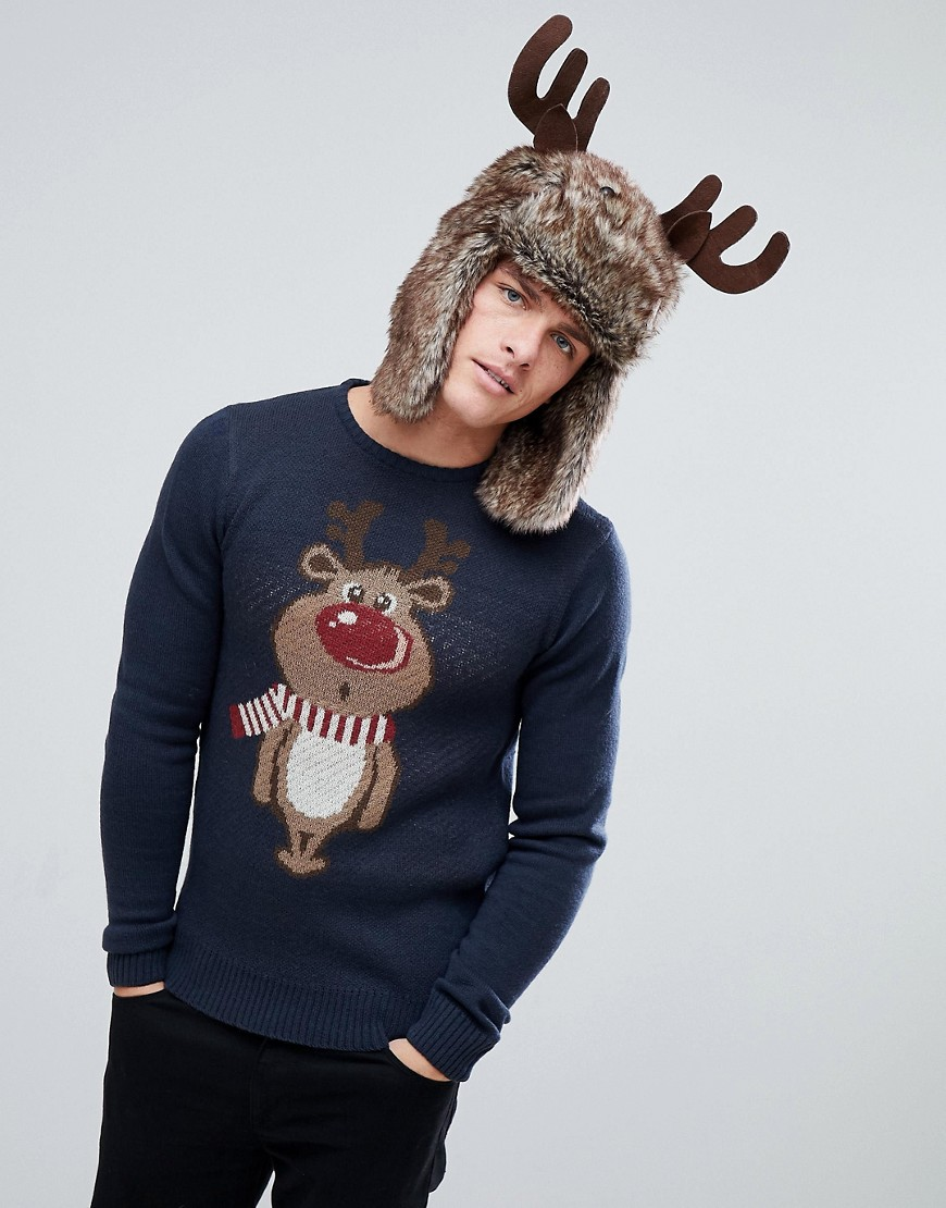 Solid Christmas Jumper In Wool With Reindeer - Navy