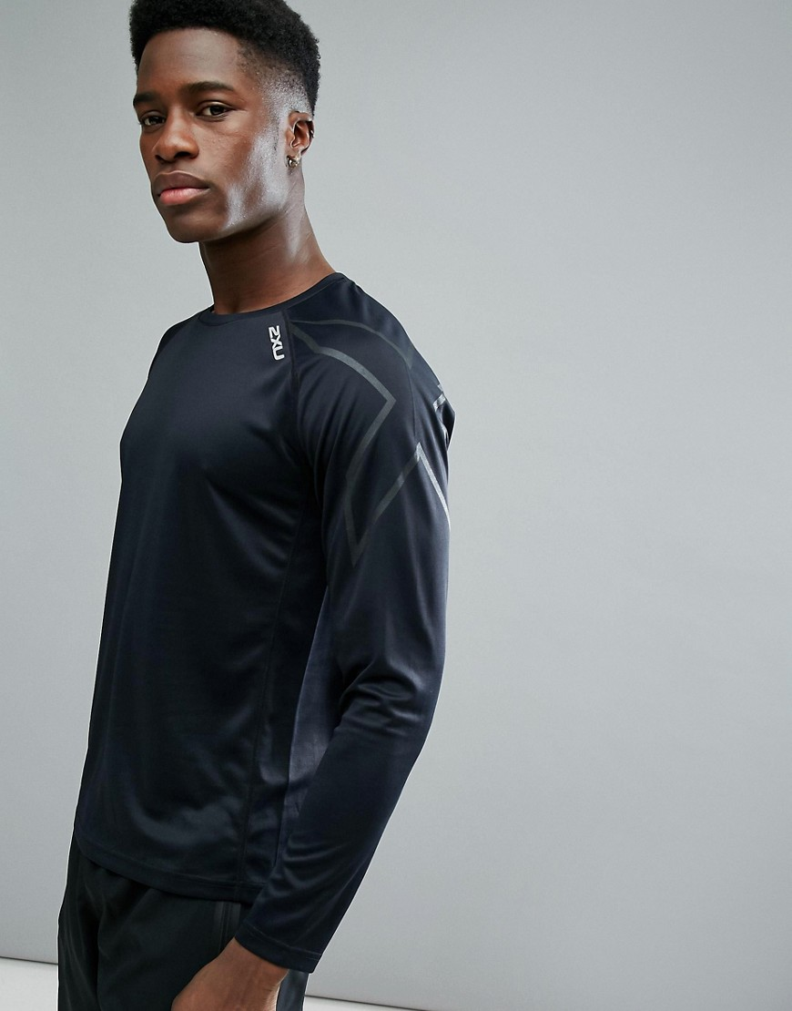 2XU Running Active Long Sleeve Top In Black MR5158A-BLK - Black