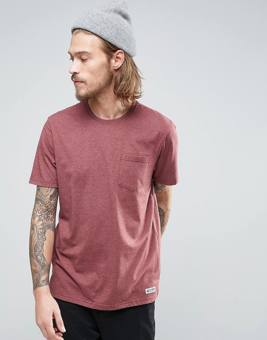 Element Basic Pocket T-Shirt in Red Heather - Oxblood