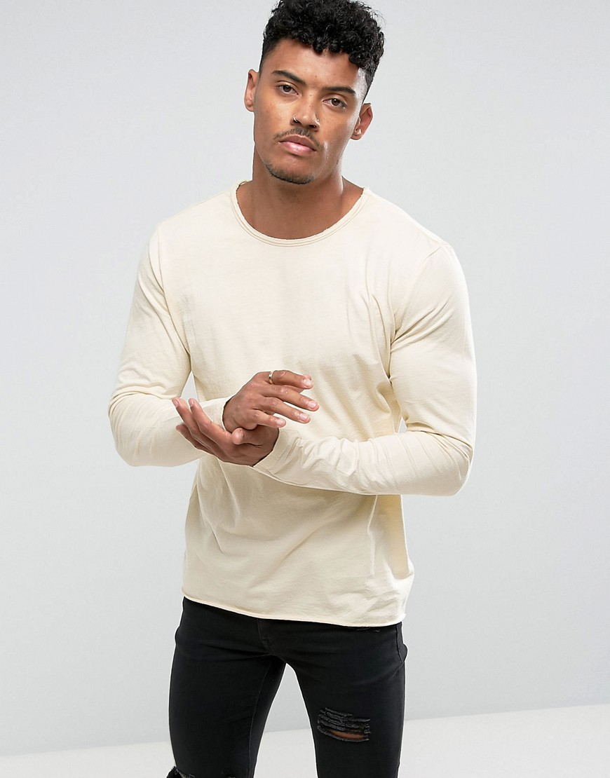 Another Influence Basic Raw Edge Long Sleeve Top - Beige