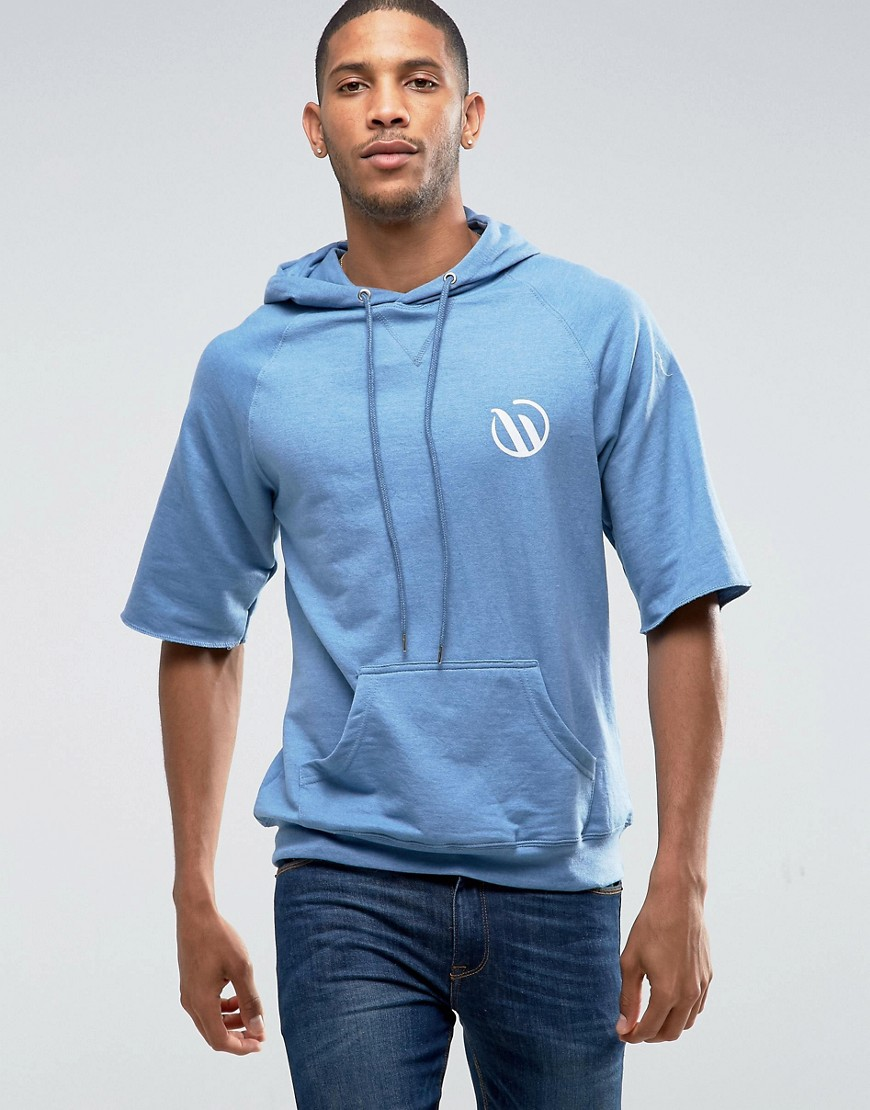 Wetts Raw Edge Mid Sleeve Hoodie With Wild Wave Back Print - Blue
