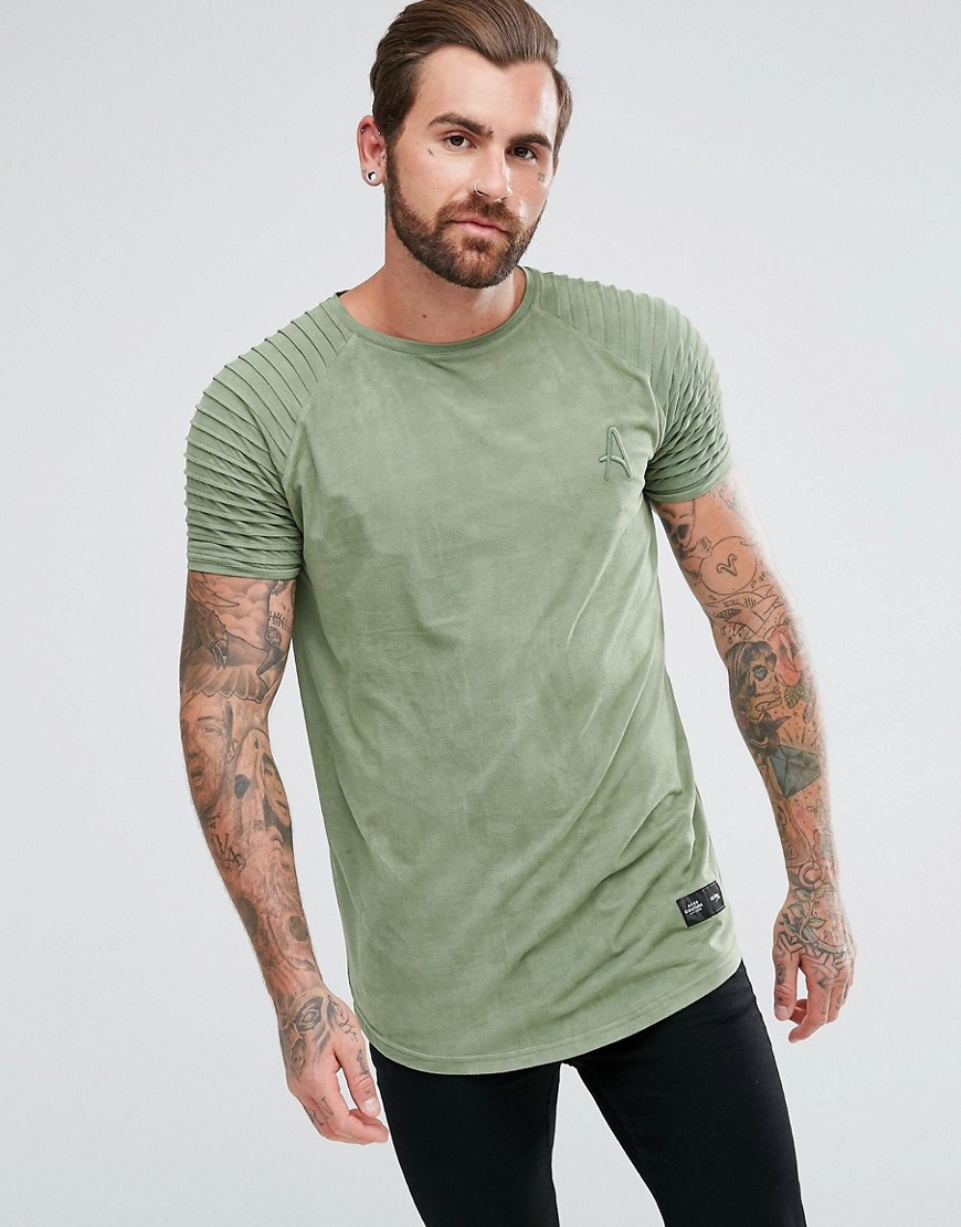 Aces Couture Muscle T-Shirt In Khaki Suedette With Biker Sleeves - Khaki