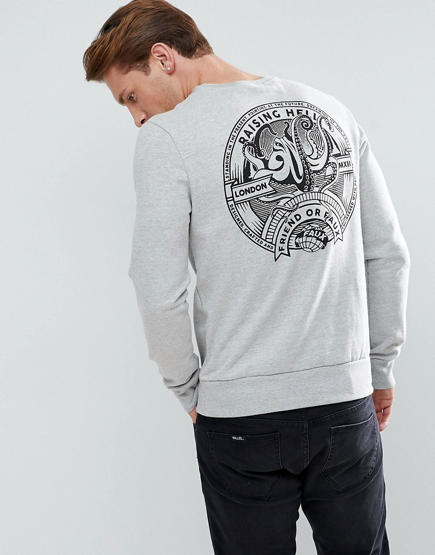 Friend or Faux Brofish Back Print Sweater - Grey