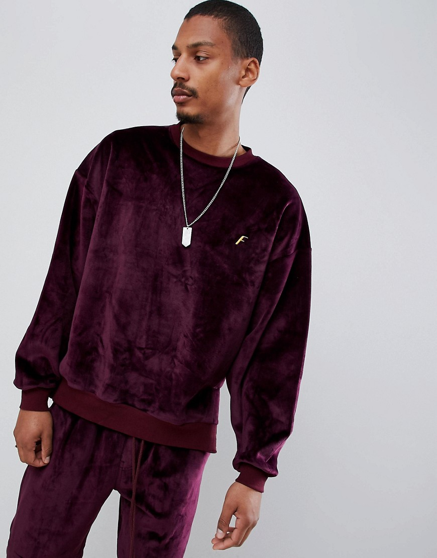 Fairplay velour sweatshirt with embroidery in burgundy - Red
